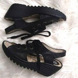 Fly London Ylva Black Leather Wedge Sandal - 9.5US